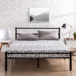 12 inch Black Metal Platform Bed Frame Headboard Footboard S