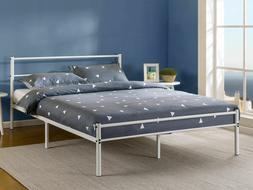 12 Inch White Metal Platform Bed Frame with Headboard and Fo