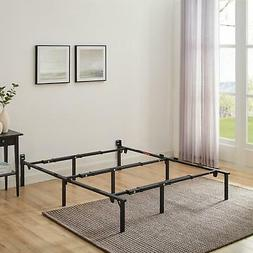 """12"""" Tall Black Adjustable Metal Bed Frame Fits Twin Full Que"""