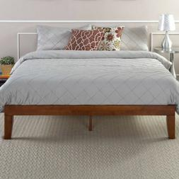 "12"" WOOD PLATFORM BED Frame Queen Size Mattress Foundation B"