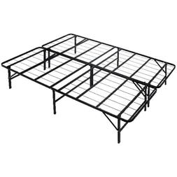 "14"" Foldable Metal Platform Bed Frame Box Spring  Mattress F"