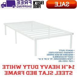 "14""H Heavy Duty White Steel Slat Bed Frame, Powder-Coated St"