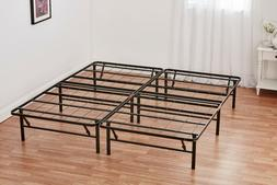 """14"""" High Profile Foldable Metal Bed Frame Powder-Coated Quee"""