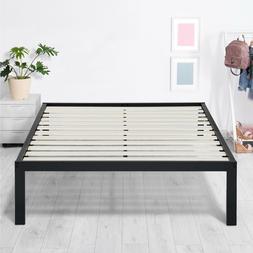 SLEEPLACE 14 Inch Wood Slat Metal Bed Frame Anti-Slip Black