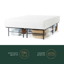 """14"""" Steel Platform Bed Frame Queen Black Easy to Assemble Al"""