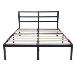 "EG EAGOLE 14"" Tall Wooden Slat Platform Bed frame, Sturdy. N"