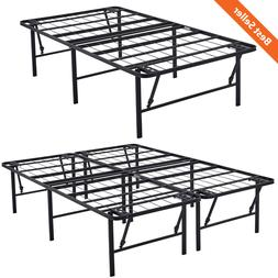 """18"""" High Profile Foldable Bed Frame Durable Heavy Duty Black"""