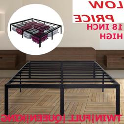 "18"" Tall Metal Platform Foundation Bed Frame Steel Queen Twi"