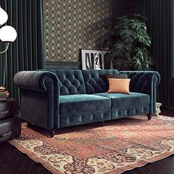 DHP 2259679 Felix Chesterfield Sofa Futon, Blue Velvet