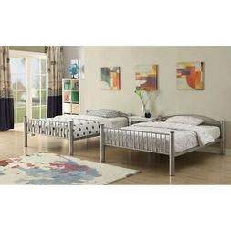 2pc Silver Metal Bed Frame Furniture Stackable Full-over-Ful
