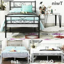 Metal Bed Frame Twin Full Queen Size Bedroom Mattress Founda