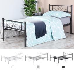 3 Colors Metal Bed Frame Twin Full Size Platform Bed Bedroom