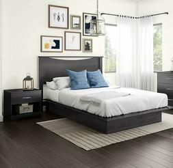 3 Piece Queen Grey Storage Platform Bed Set Collection Home