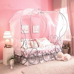 Acme Furniture 37190T Priya Canopy Bed, Twin, Silver