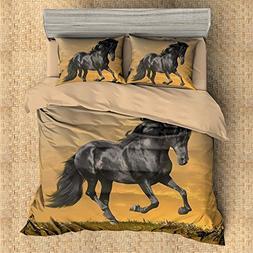 3D Personalized Design Black Horse Duvet Cover Set Style Mic