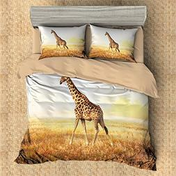 3D Personalized Design Giraffe Duvet Cover Set Style Microfi