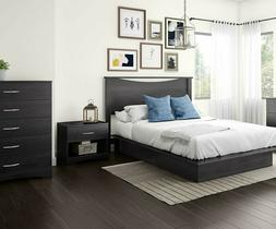 4 Piece Queen Grey Storage Platform Bed Set Collection Home