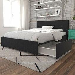 Novogratz 4296429N Kelly Bed with Storage Full Dark Gray Lin