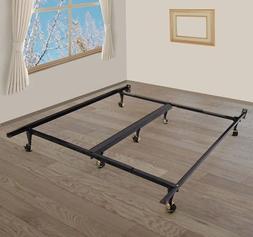 HOMCOM 7-Leg Adjustable Metal Bed Frame w/Rollers - Fits Que