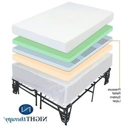 """NIGHT THERAPY 8"""" MEMORY FOAM MATTRESS AND BED FRAME SET KING"""