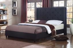 BLACK Fabric WingBack KING Size Platform Bed Frame & Slats M