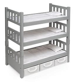 Badger Basket 1-2-3 Convertible Doll Bunk Bed , Gray/White