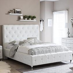 Baxton Studio Stella Crystal Tufted Modern Bed with Upholste
