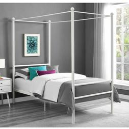 Bed Frame Twin Size Canopy Metal Princess Girls Kids Bedroom