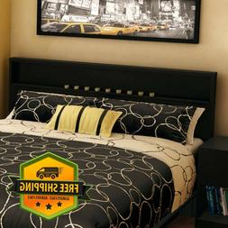 Black Modern Wood Headboard With Storage Shelf For Full/Doub
