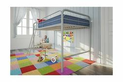 DHP Junior Loft Bed Frame With Ladder, Silver
