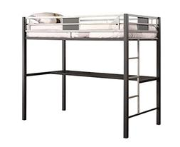 DHP Screen Loft Metal Bunk Bed with Desk and Ladder, Space-S