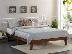 Full Platform Bed Frame Wood Cherry No Boxspring 12 Inch Hig