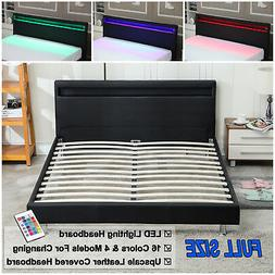 Full Size Bedroom Leather Platform Slat Bed Frame Headboard