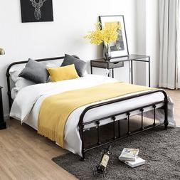 Full Size Metal Steel Bed Frame W/Stable Metal Slats Headboa