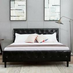 Full Size PU Leather Button Tufted  Bed Frame Metal Platform