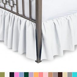 Harmony Lane Ruffled Bed Skirt with Split Corners - King, Wh