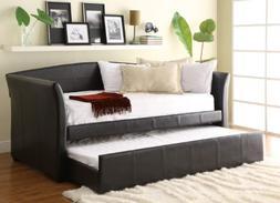 Homelegance Meyer Faux Leather Upholstered Trundle Daybed, D