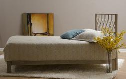 Honeycomb Metal Headboard and Aura Gold Metal Platform Bed