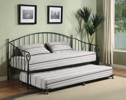 Kings Brand Black Metal Twin Size Day Bed  Frame with Trundl