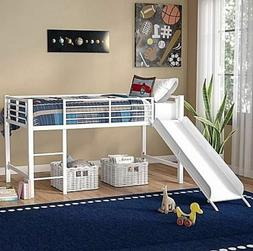 Loft Bed Frame Set Kids Beds Low Twin Slide Metal White Girl