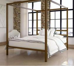 Metal Canopy Bed Frame Queen Size Modern Gold Finish Built-i