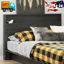 Modern Gray Wood Headboard With Storage Shelf For Queen/Doub