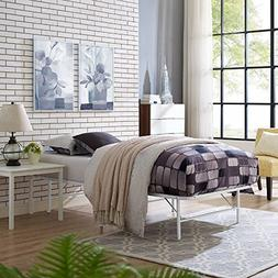 Modway Horizon Twin Bed Frame In White - Replaces Box Spring