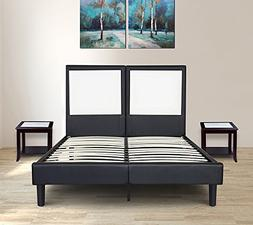 Olee Sleep Faux Leather Wood Slate Folding Platform Queen Be