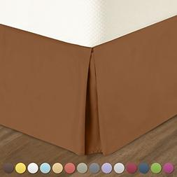 Pleated Bed-Skirt Twin Size – Light Brown  Luxury Double B