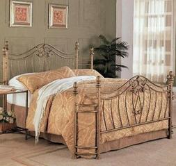 Queen Bed Frame Iron Platform Bed Bedding Gold Metal Shabby