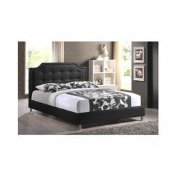 Queen Size Platform Bed Frame Upholstered Headboard Black Tu