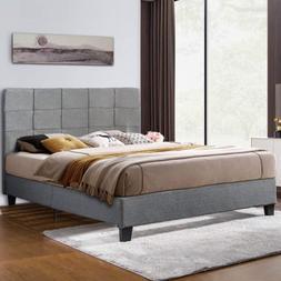 Queen Size Upholstered Platform Bed Frame with Wooden Slats