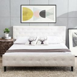 Queen Size White PU Leather Button Tufted Upholstered Platfo