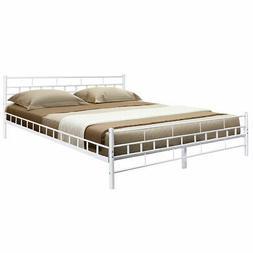 Queen Size Wood Slats Bed Frame Platform Headboard Footboard